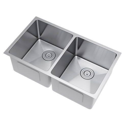 Exclusive Heritage KSH-3320-D5-UBS 50/50 Stainless Kitchen Sink w/ Strainer