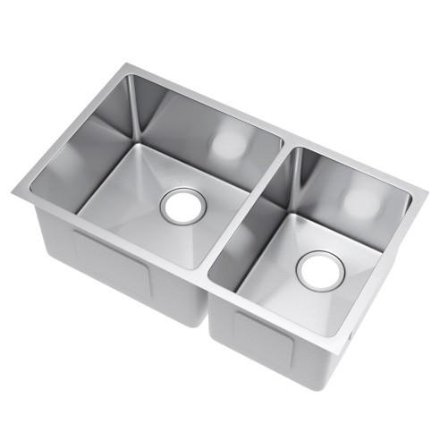 Exclusive Heritage KSH-3320-D6-UB 60/40 Undermount Stainless Kitchen Sink