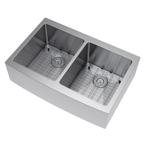 Exclusive Heritage KSH-3322-D5-FBSG Double Farm Sink with Strainer and Grid