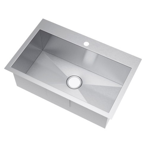 Exclusive Heritage KSH-3322-S-TA Single Topmount Stainless Kitchen Sink