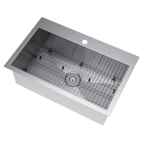 Exclusive Heritage KSH-3322-S-TASG Single Kitchen Sink w/ Strainer and Grid