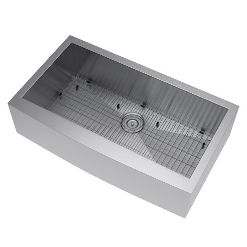 Exclusive Heritage KSH-3621-S-FASG Kitchen Farm Sink with Strainer and Grid