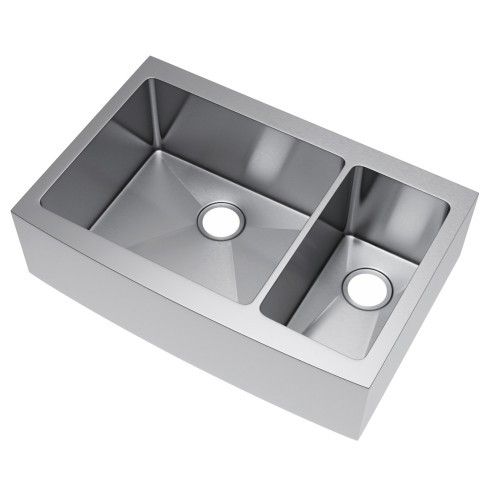 Exclusive Heritage KSH-3622-D7-FB Double 70/30 Stainless Kitchen Farm Sink