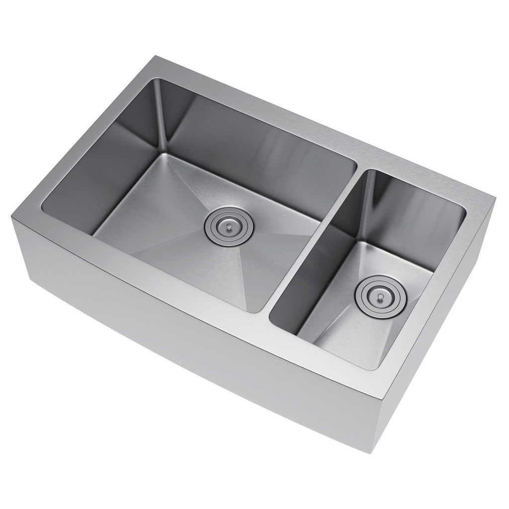 Exclusive Heritage KSH-3622-D7-FBS Double Stainless Farm Sink with Strainer