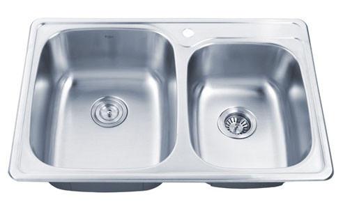 Kraus KTM32 33 inch Topmount Double Bowl Stainless Steel Kitchen Sink