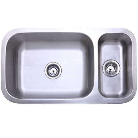Gourmetier KU321897DBN Cambridge Double Bowl Kitchen Sink in Satin Nickel
