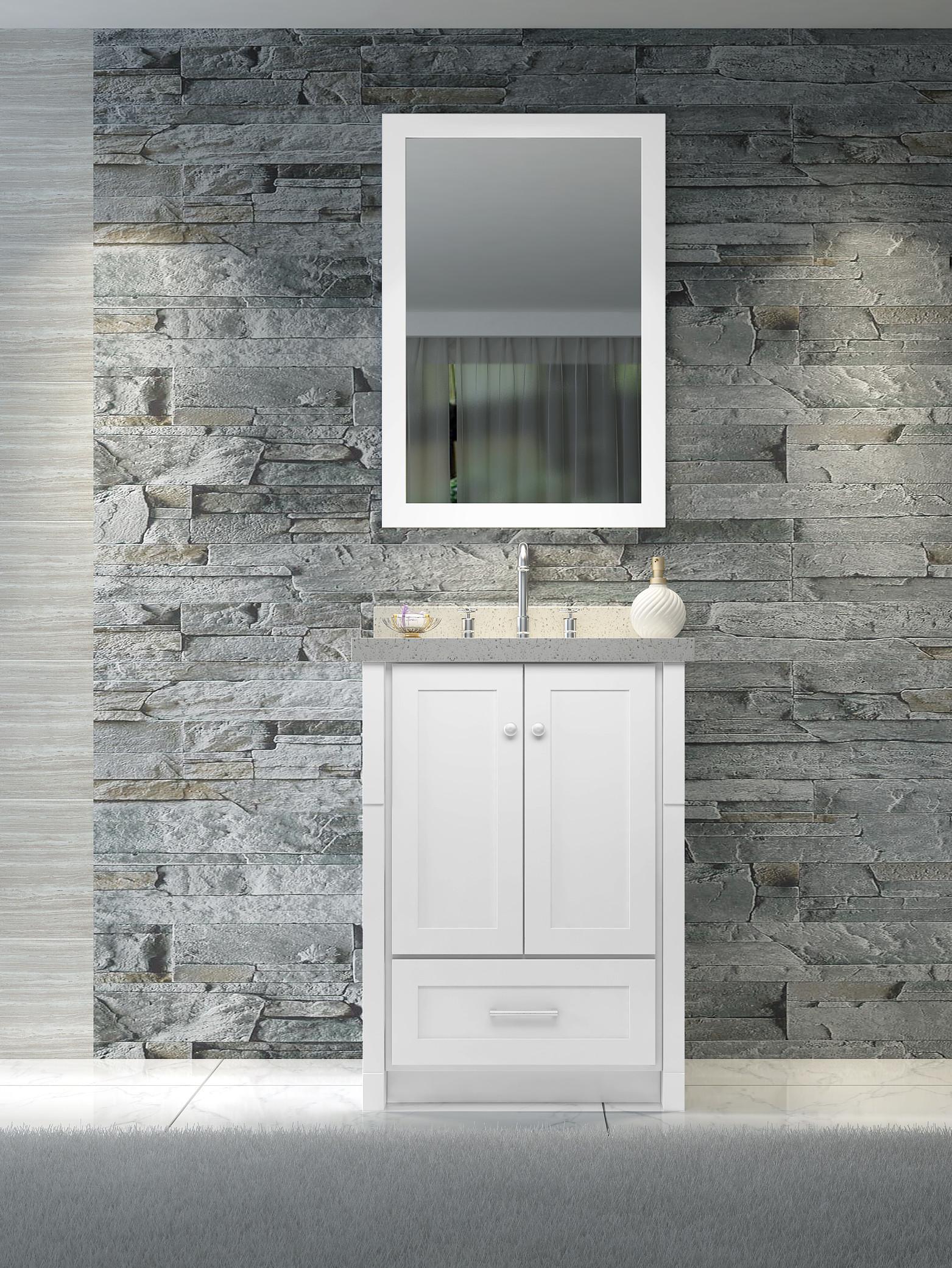Ariel L025S-02 Adams 25 Inch Single Sink Vanity Set in White