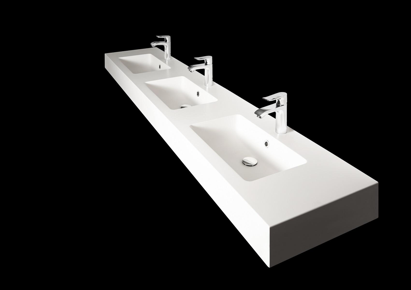 Aquatica Lantana-С-Wht Stone Bathroom Sink In White With 3 Washbasins