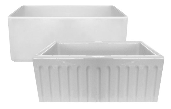 Latoscana LAT/R2418W White Reversible Fireclay Farmhouse Kitchen Sink