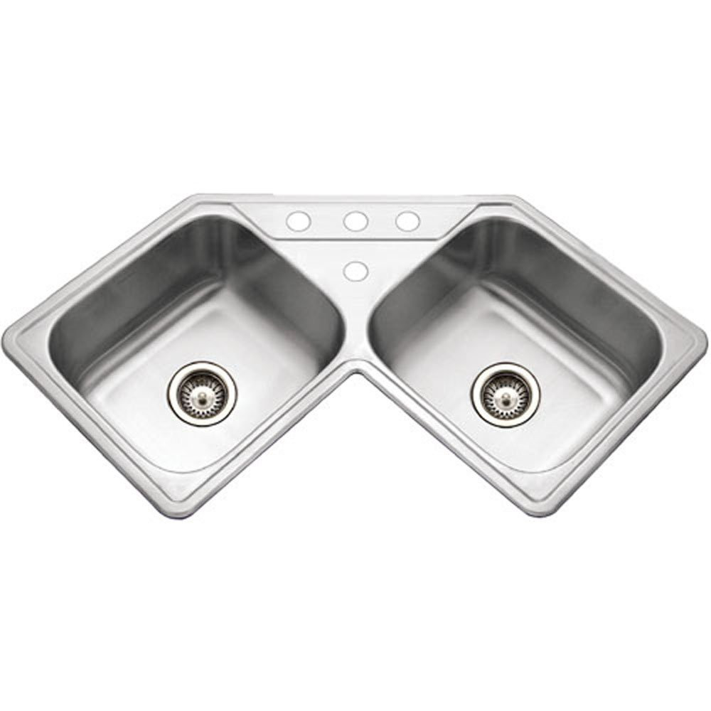 Houzer LCR-3221-1 Legend Series Topmount Stainless Steel 4-hole Corner Bowl Kitchen Sink