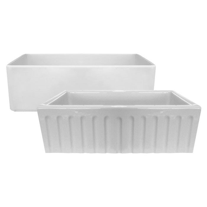 Latoscana LFS3318W Fireclay Farmhouse Reversible Kitchen Sink With Decorative Fluted Design