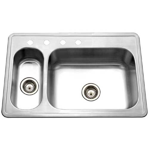 Houzer LHD-3322-1 Legend Series Top mount Stainless Steel 4-hole 70/30 Double Bowl Kitchen Sink