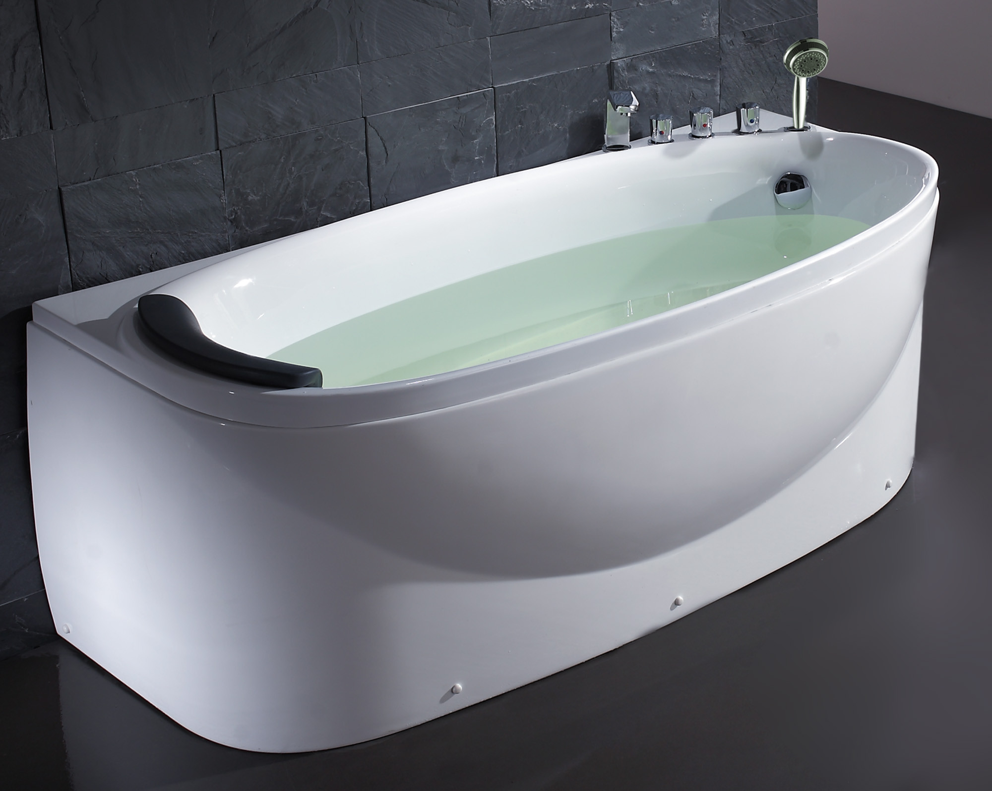EAGO LK1104-R Acrylic White 6' Soaking Tub with Fixtures And Right Drain