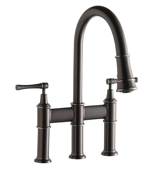 Elkay LKEC2037 Double Lever Handle Explore Pull-Down Bridge Kitchen Faucet