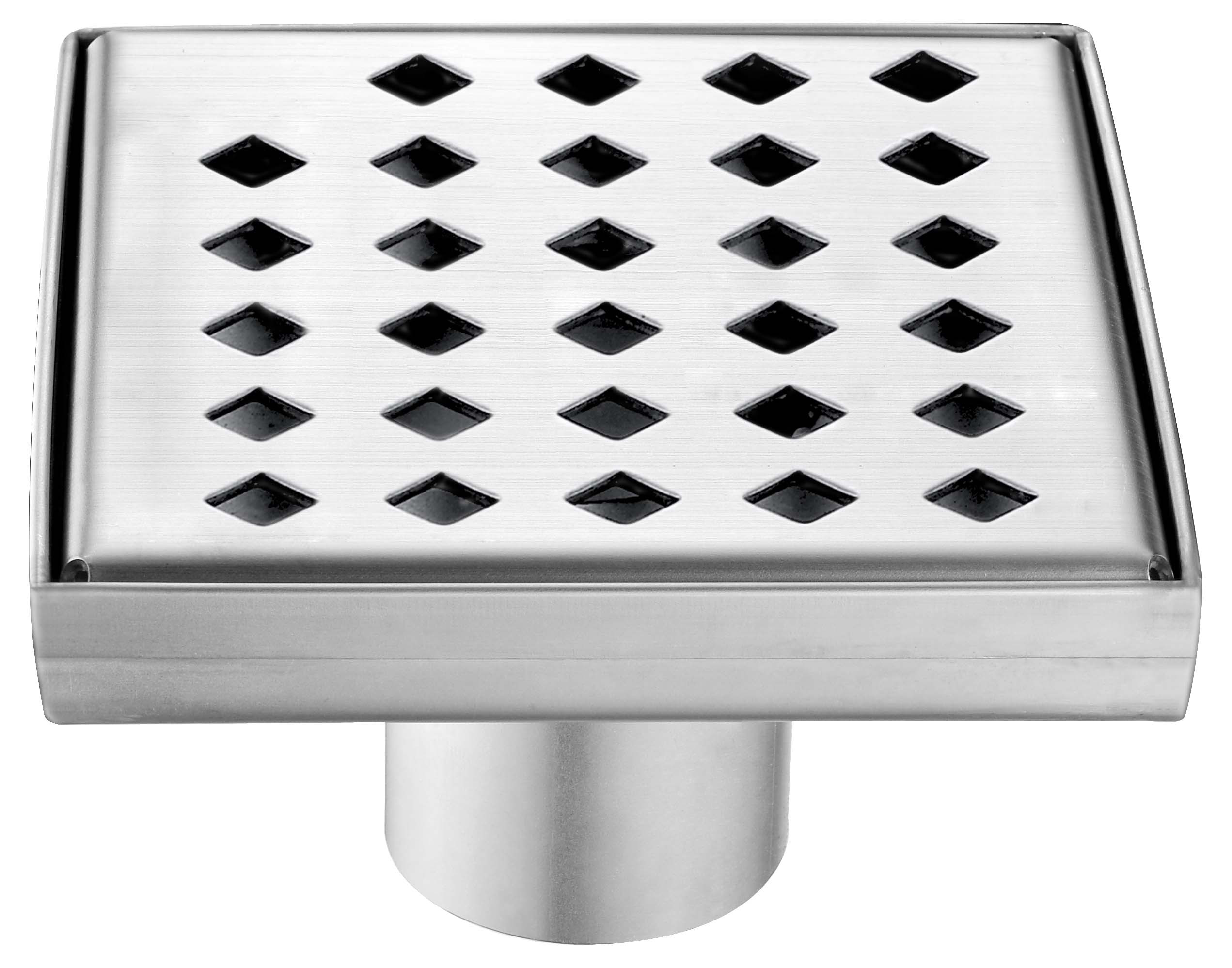 "Dawn® LMI050504 Mississippi River Series Square Shower Drain 5""L In Polished Satin"