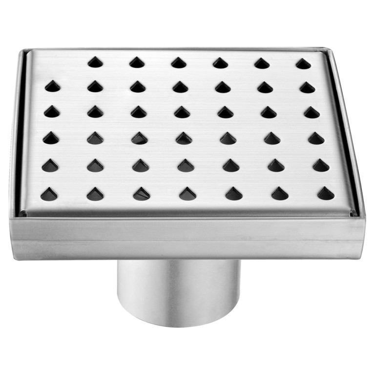 "Dawn® LNE050504 Nile River Series Square Shower Drain 5""L In Polished Satin"