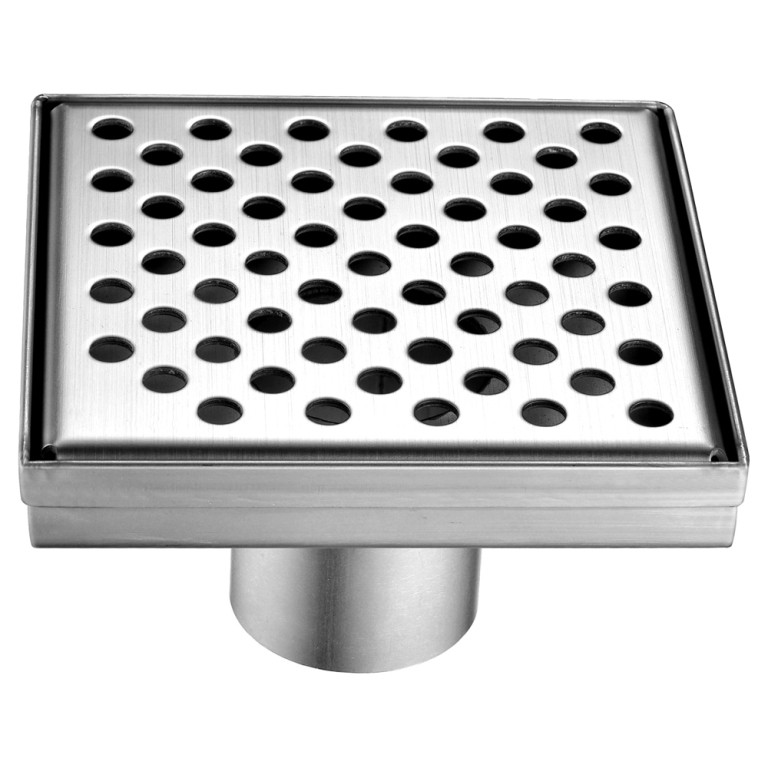 "Dawn® LRE050504 Rhone River Series Square Shower Drain 5""L In Polished Satin"