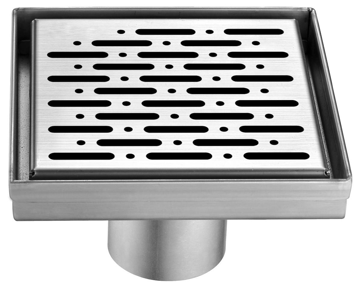 """Dawn® LRO050504 Rio Orinoco River Series Square Shower Drain 5""""L In Polished Satin"""