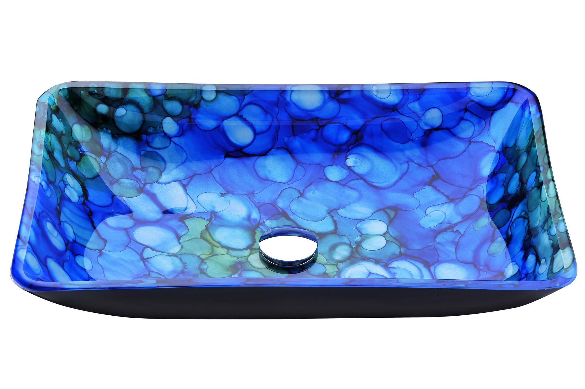 ANZZI LS-AZ040 Voce Series Deco-Glass Vessel Sink In Lustrous Blue