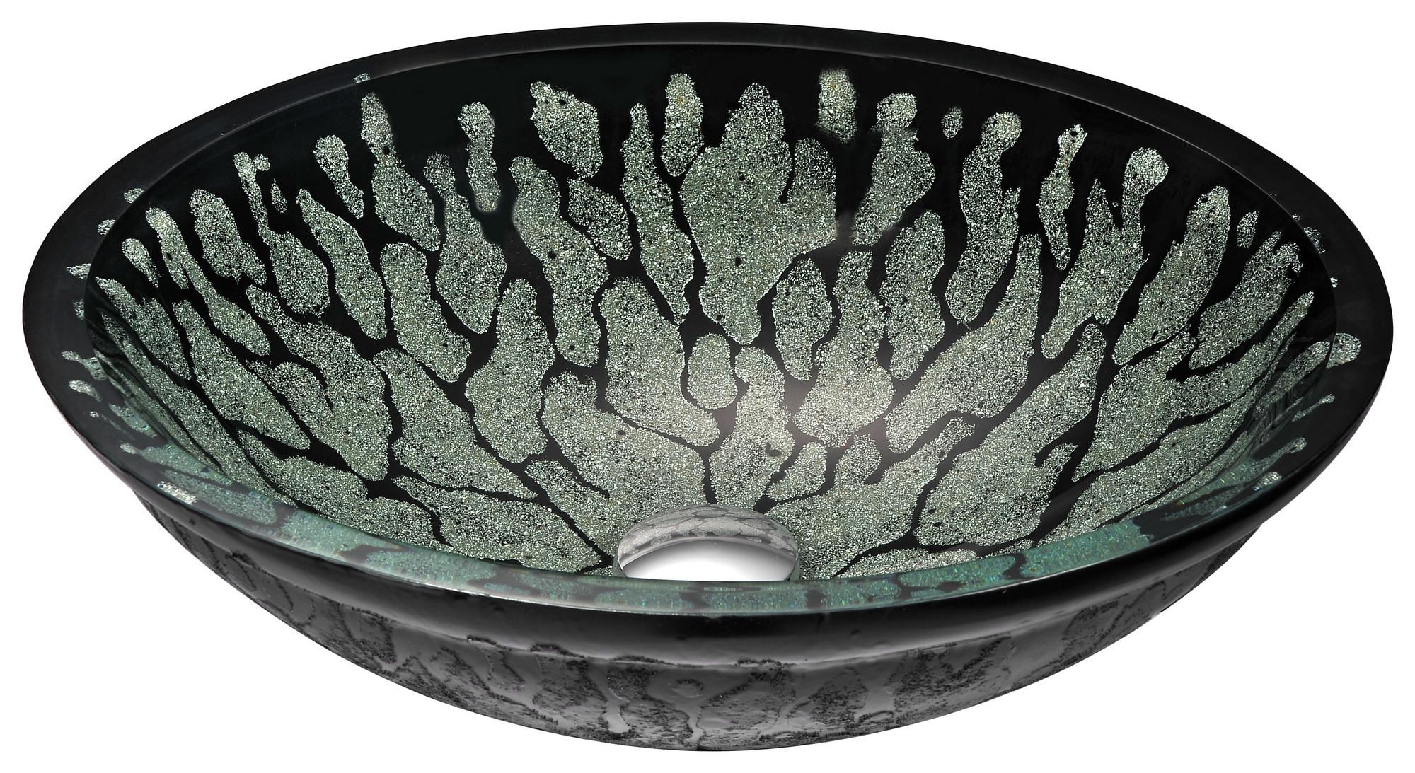 ANZZI LS-AZ043 Bravo Series Deco-Glass Vessel Sink In Lustrous Black