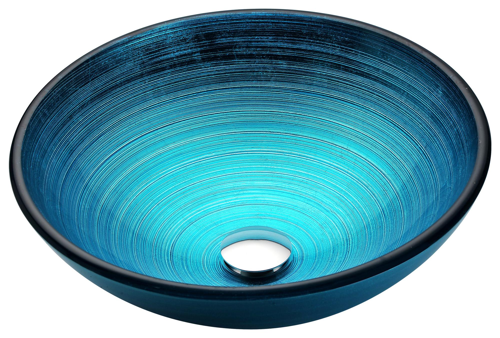 ANZZI LS-AZ045 Enti Series Deco-Glass Vessel Sink In Lustrous Blue