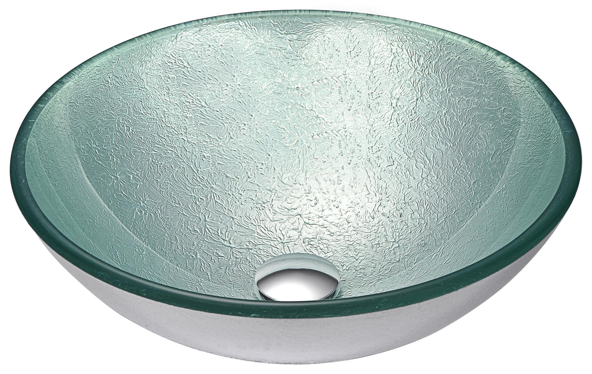 ANZZI LS-AZ055 Spirito Series Deco-Glass Vessel Sink In Churning Silver