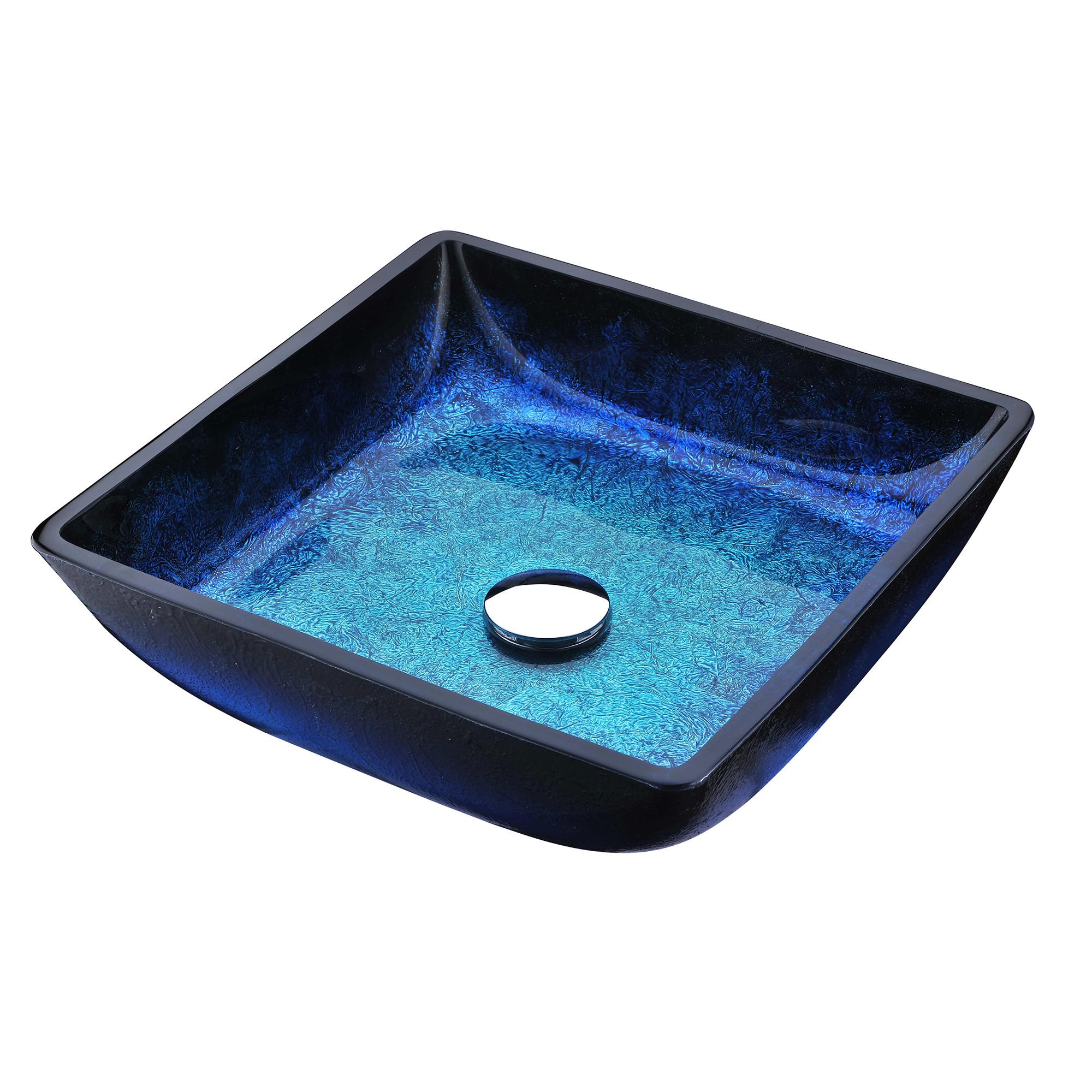 ANZZI LS-AZ056 Viace Series Deco-Glass Vessel Sink In Blazing Blue