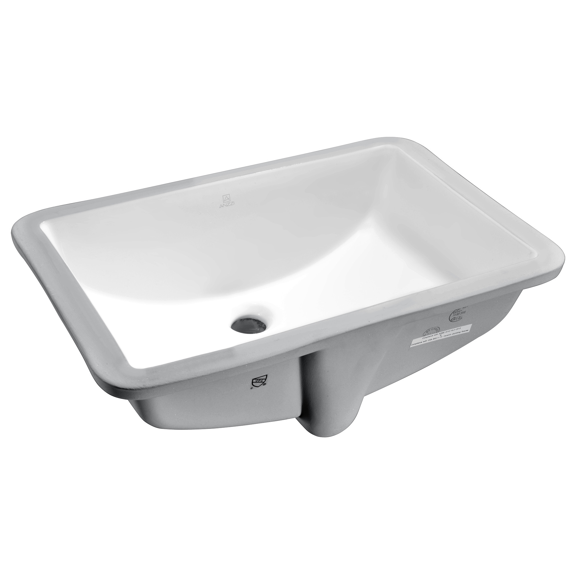 ANZZI LS-AZ107 Pegasus Series 21 Inch Ceramic Undermount Sink Basin - White