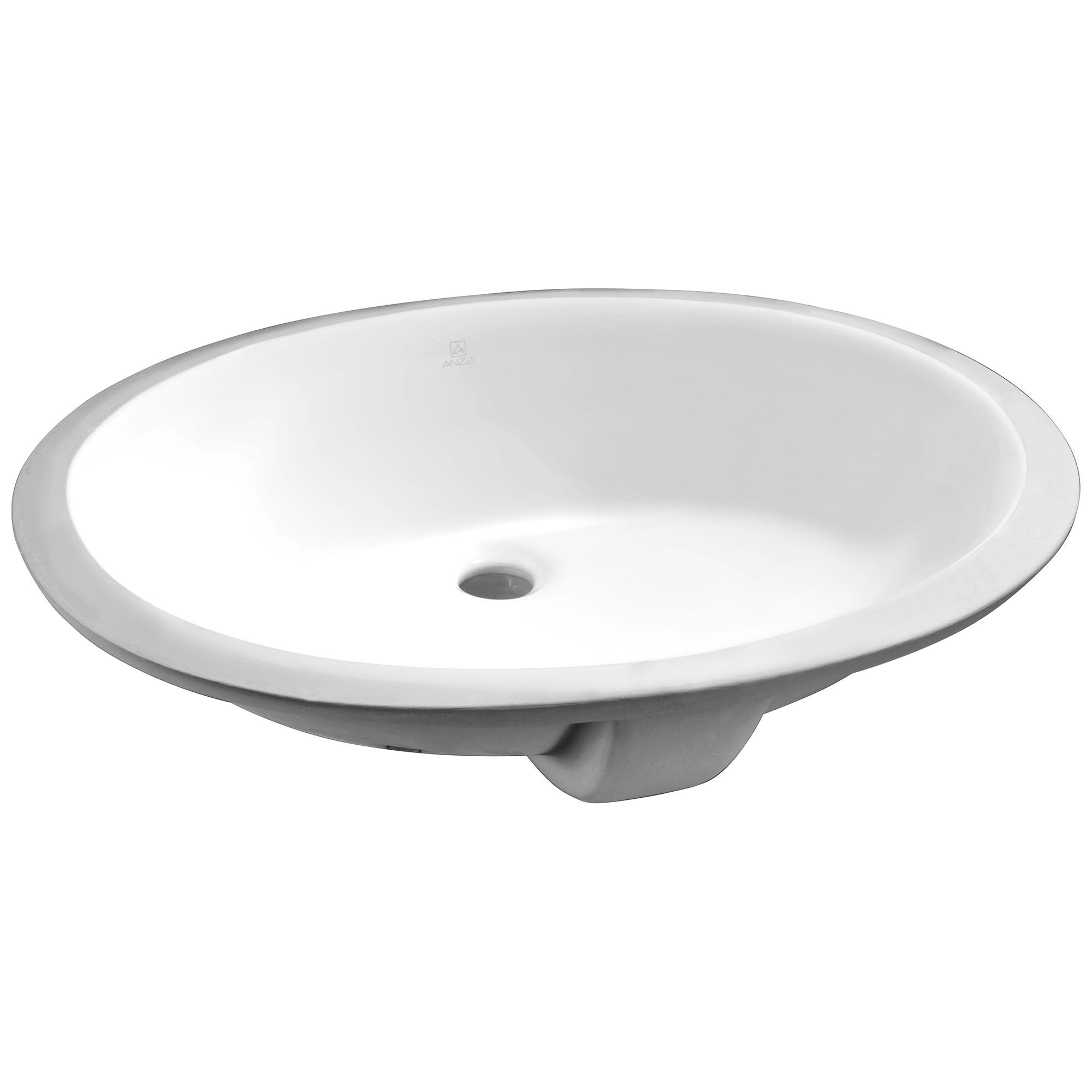 """ANZZI LS-AZ109 Rhodes Series 7.75"""" Ceramic Undermount Sink Basin In White"""