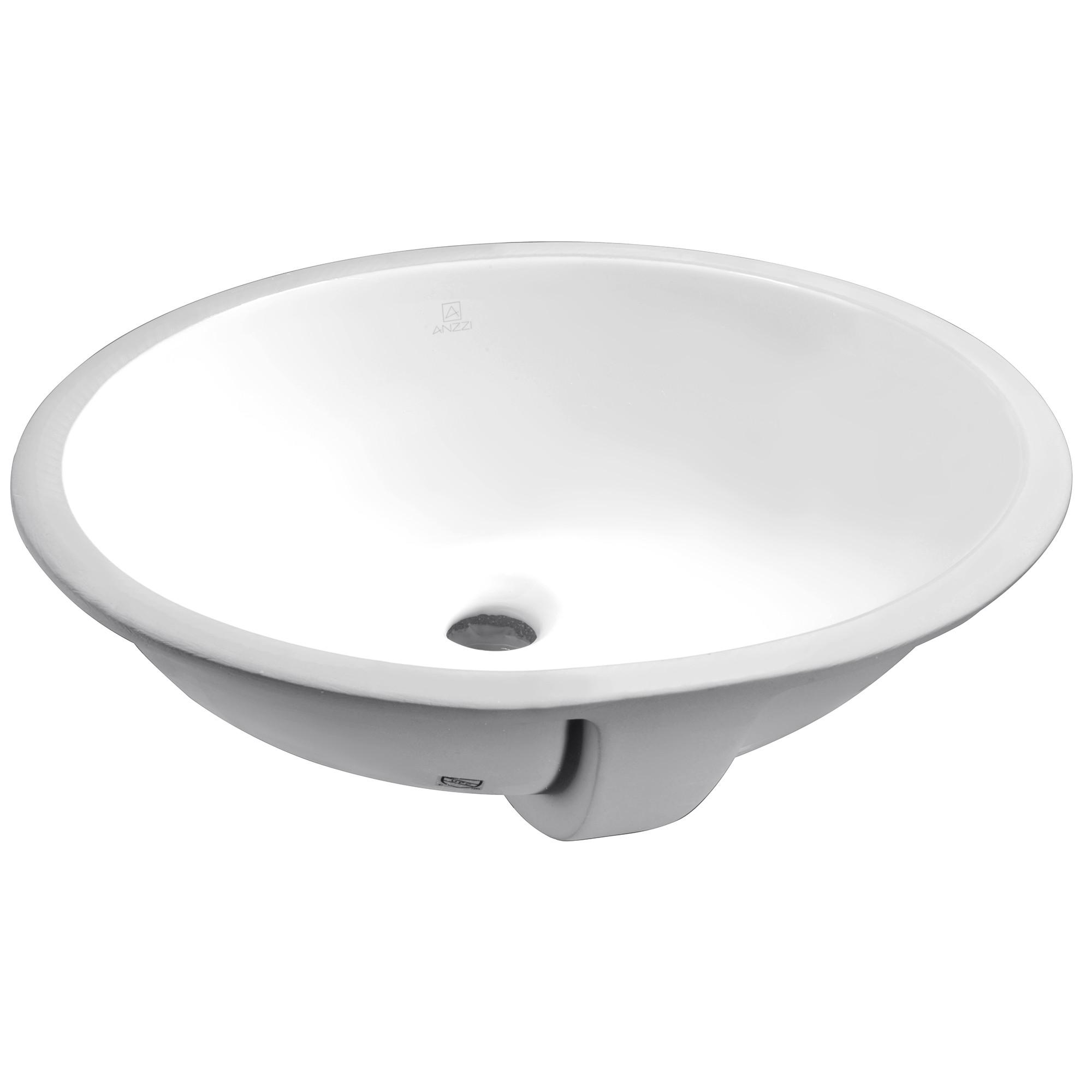 """ANZZI LS-AZ110 Rhodes Series 7.5"""" Ceramic Undermount Sink Basin In White"""