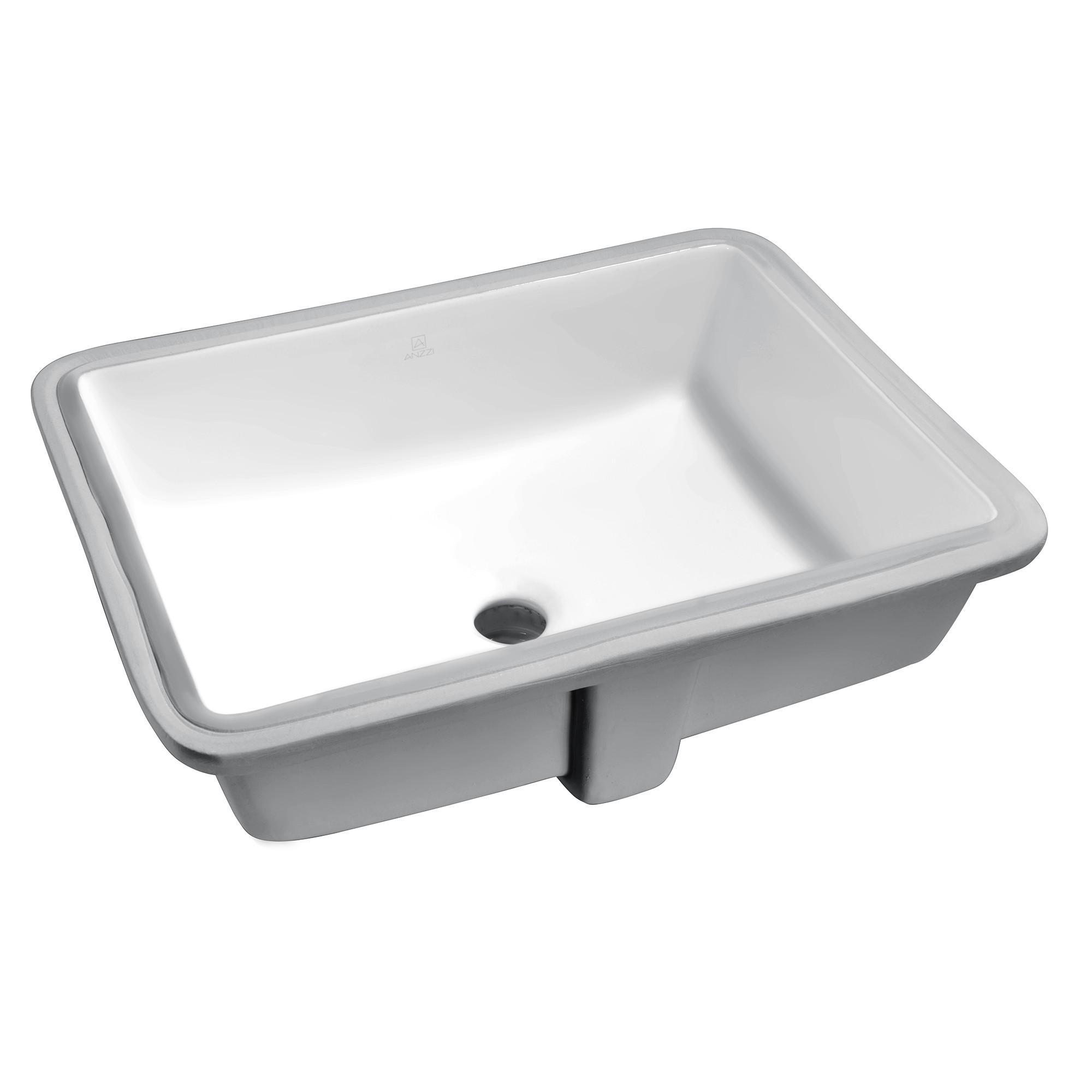 ANZZI LS-AZ128 Dahlia 19.5 Inch Ceramic Undermount Sink Basin in White