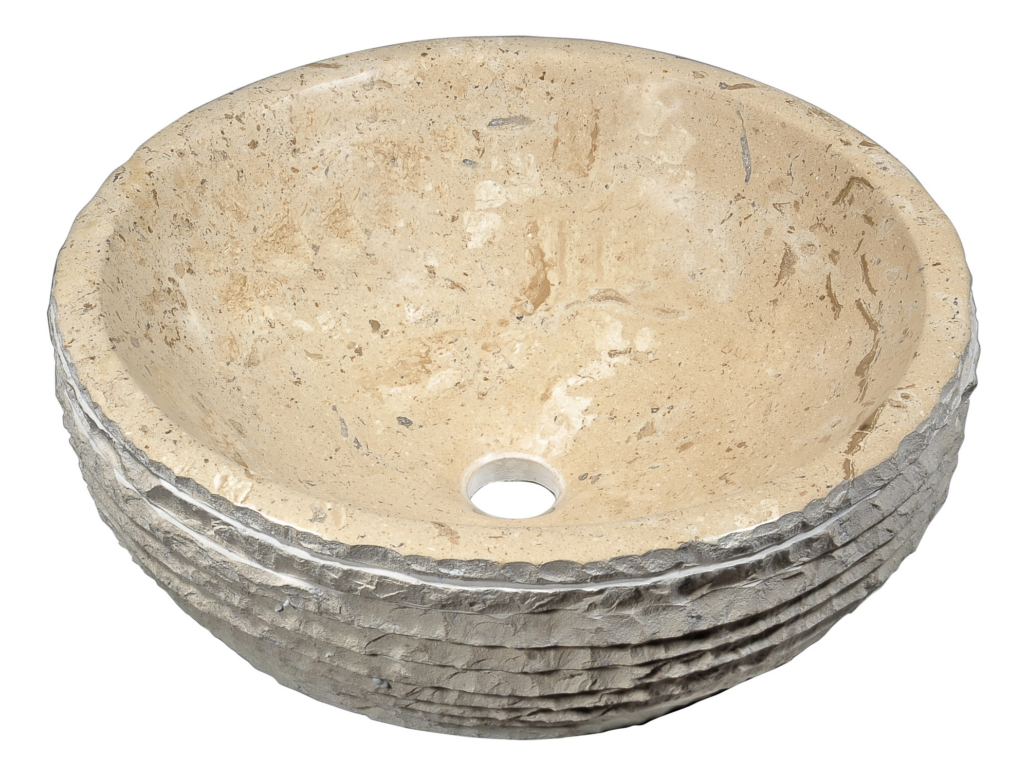 ANZZI LS-AZ147 Desert Basin Modern Vessel Sink In Classic Cream Marble
