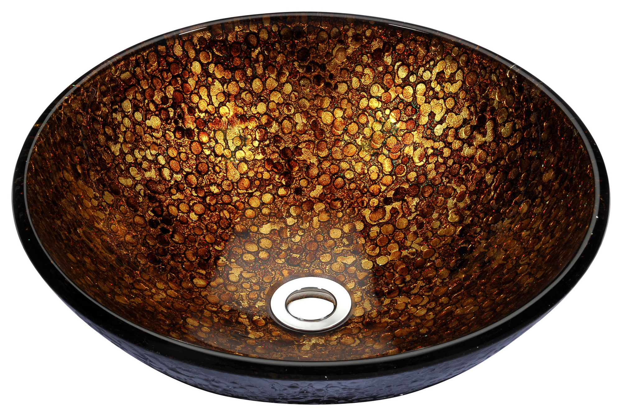 ANZZI LS-AZ165 Stellar Series Deco-Glass Vessel Sink In Idol Gold