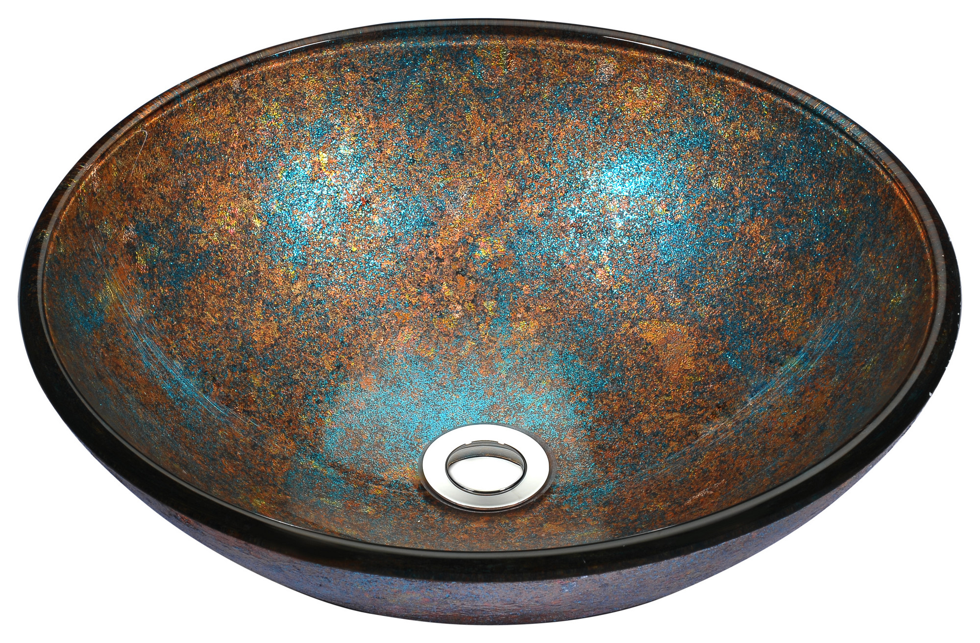 ANZZI LS-AZ172 Stellar Series Deco-Glass Vessel Sink In Emerald Burst