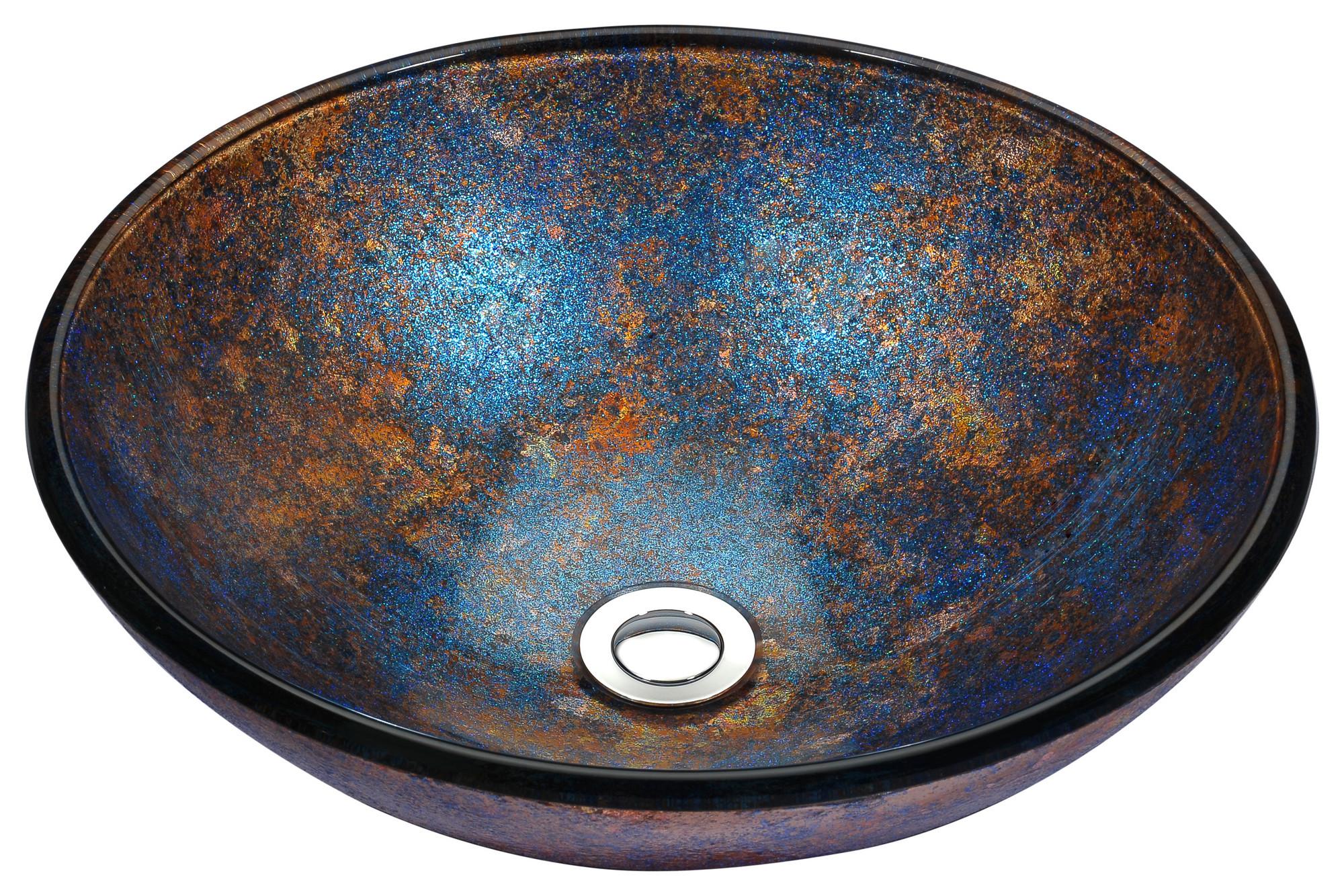 ANZZI LS-AZ173 Stellar Series Deco-Glass Vessel Sink In Sapphire Burst