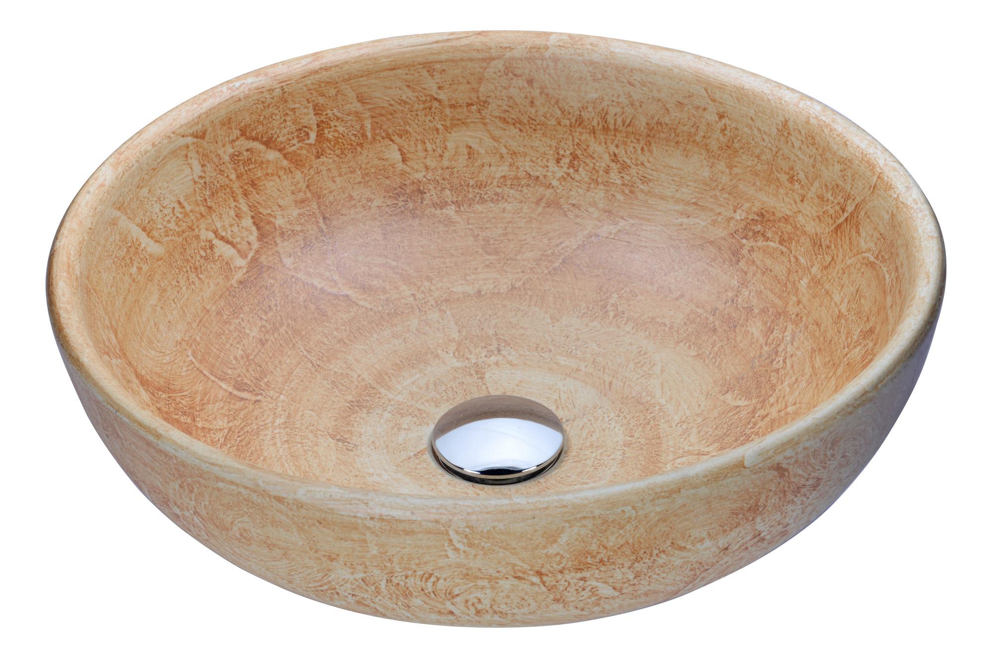 ANZZI LS-AZ184 Earthen Series Deco-Glass Vessel Sink In Creamy Beige