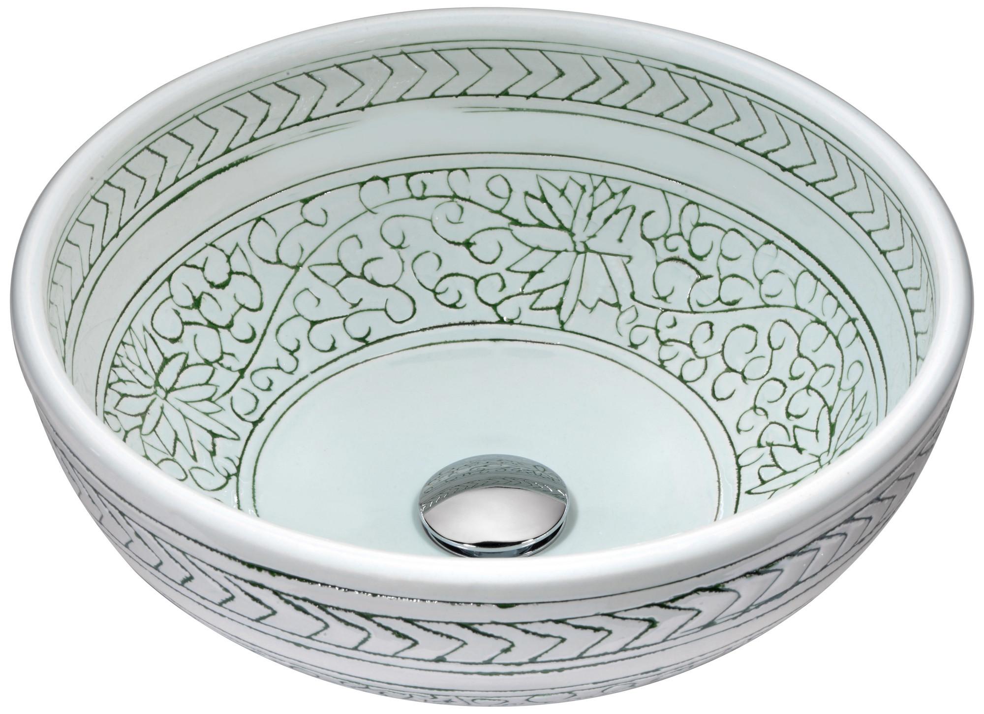 ANZZI LS-AZ185 Cadence Series Deco-Glass Vessel Sink In Décor White