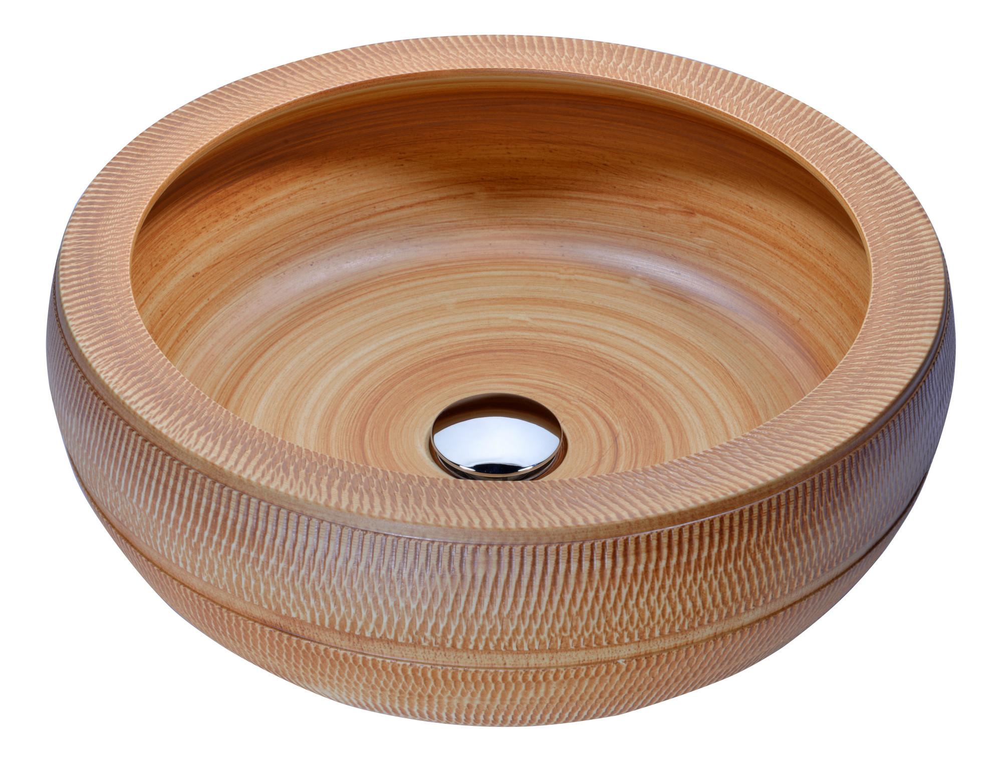 ANZZI LS-AZ189 Regalia Series Deco-Glass Vessel Sink In Styled Chestnut