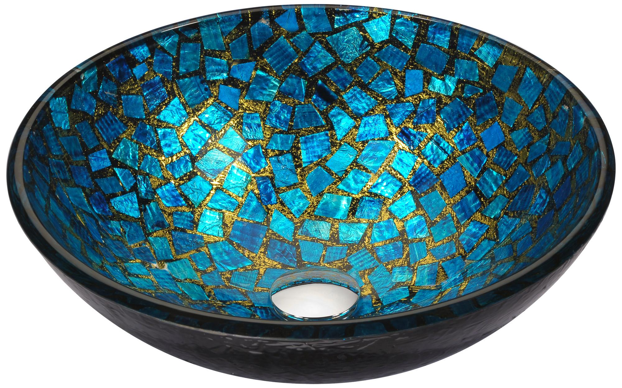 ANZZI LS-AZ198 Mosaic Series Deco-Glass Vessel Sink In Blue/Gold Mosaic