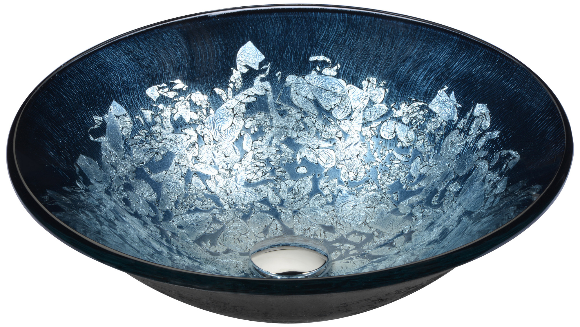 ANZZI LS-AZ212 Chrona Series Tempered Deco-Glass VesselSink In Silver Burst
