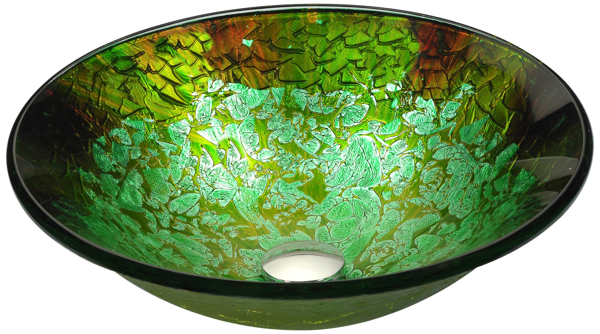 ANZZI LS-AZ213 Chrona Series Deco-Glass Vessel Sink In Emerald Burst