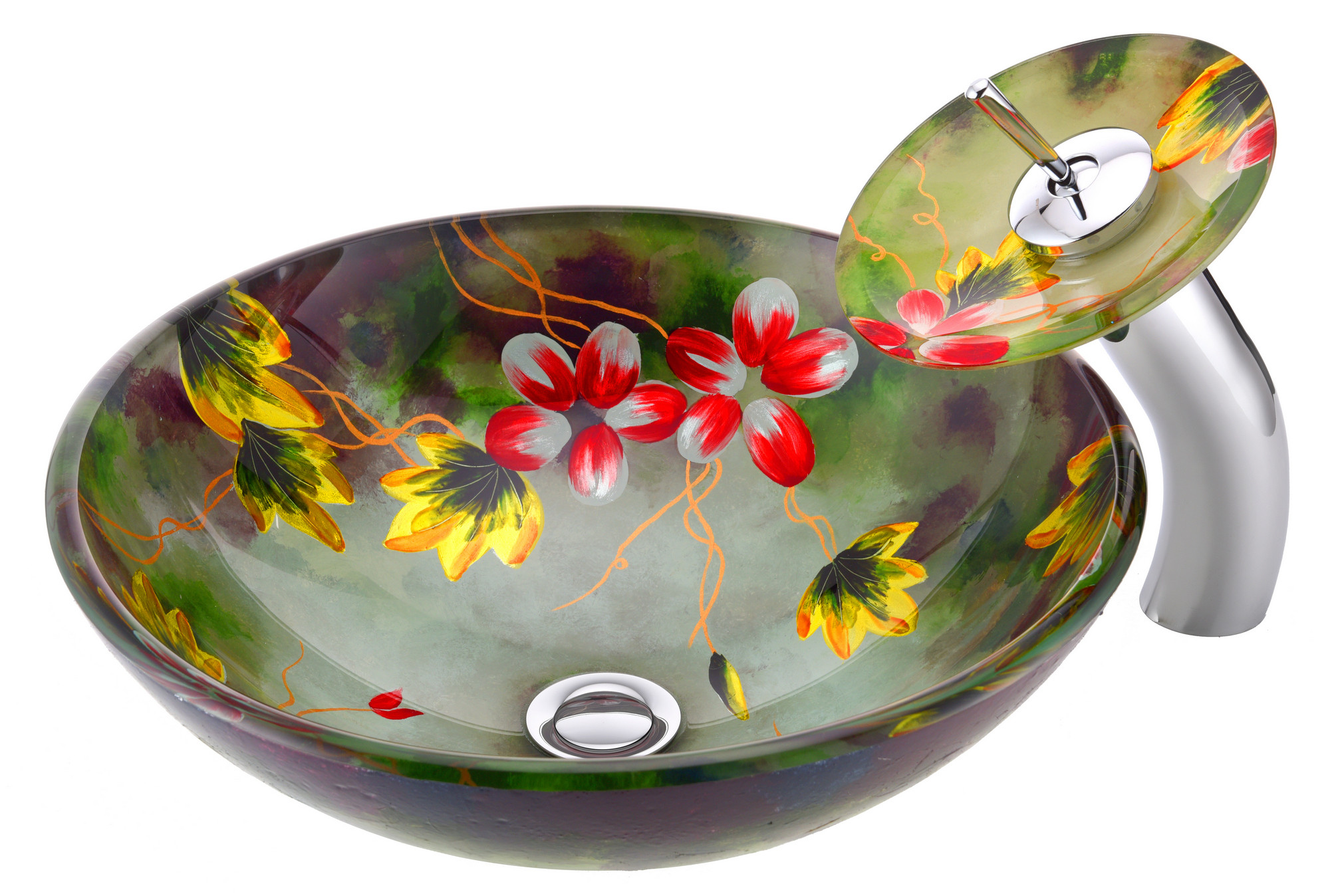 ANZZI LS-AZ217 Impasto Series Deco-Glass Vessel Sink In Hand Painted Mural