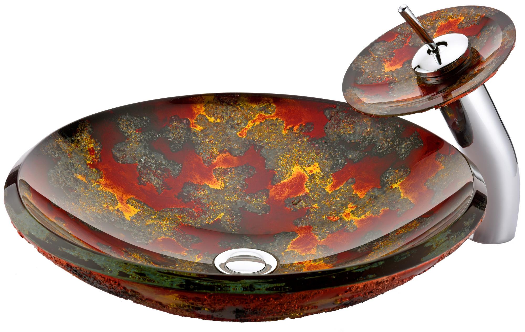 ANZZI LS-AZ219 Chrona Series Deco-Glass Vessel Sink In Hardened Magma