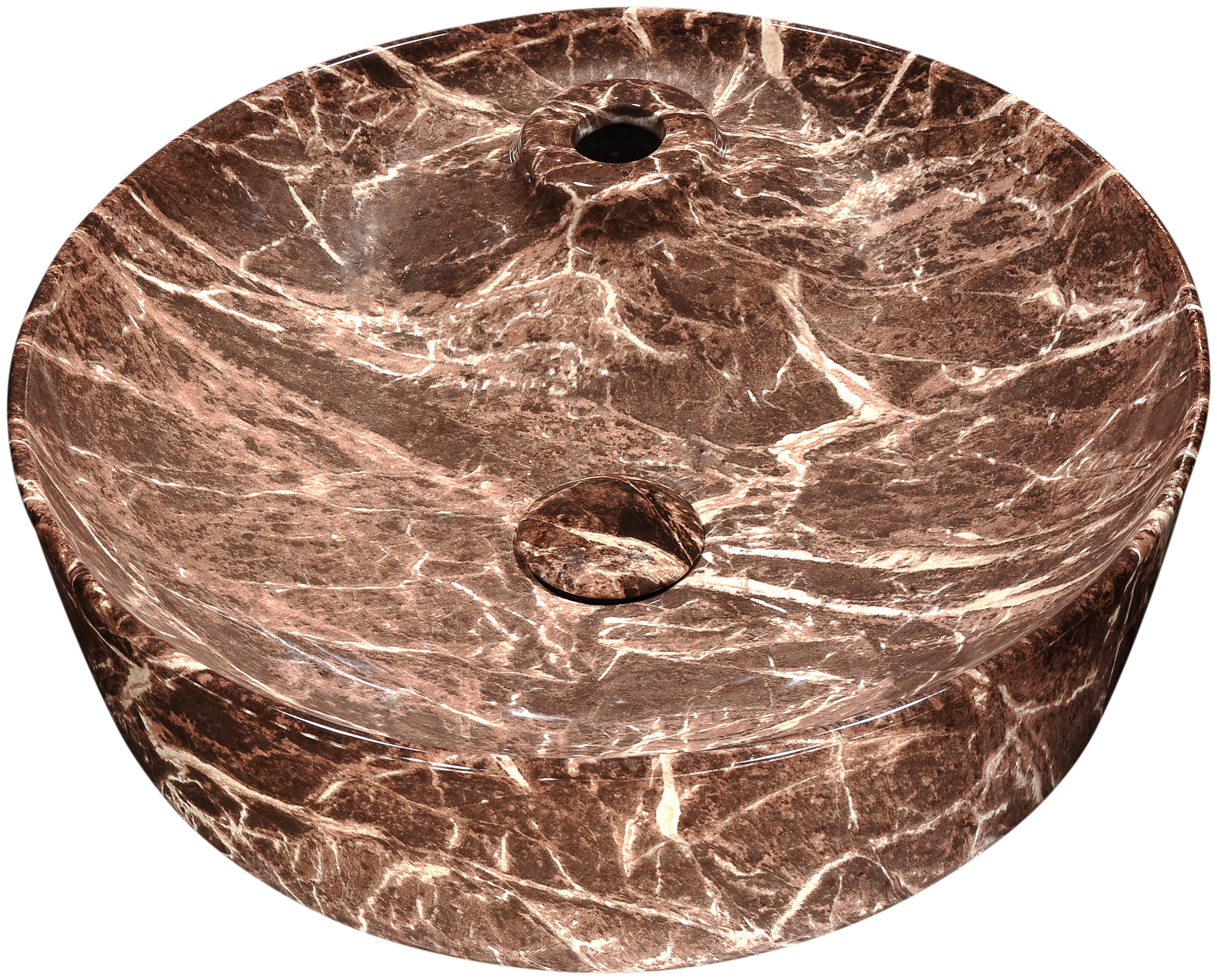 ANZZI LS-AZ235 Marbled Series Ceramic Vessel Sink In Marbled Chocolate Finish