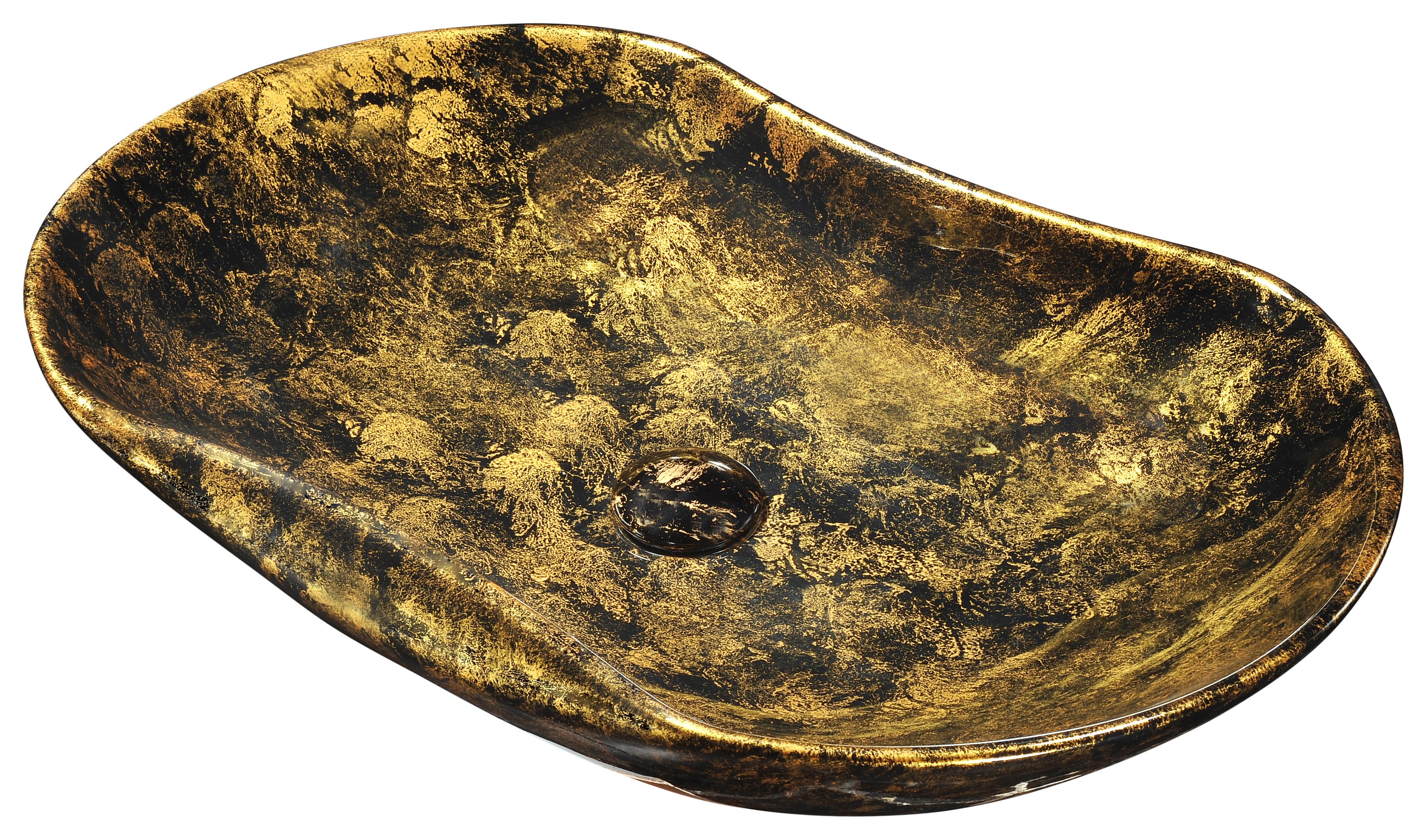 ANZZI LS-AZ239 Apollo Gold Ceramic Vessel Sink In Apollo Gold Finish