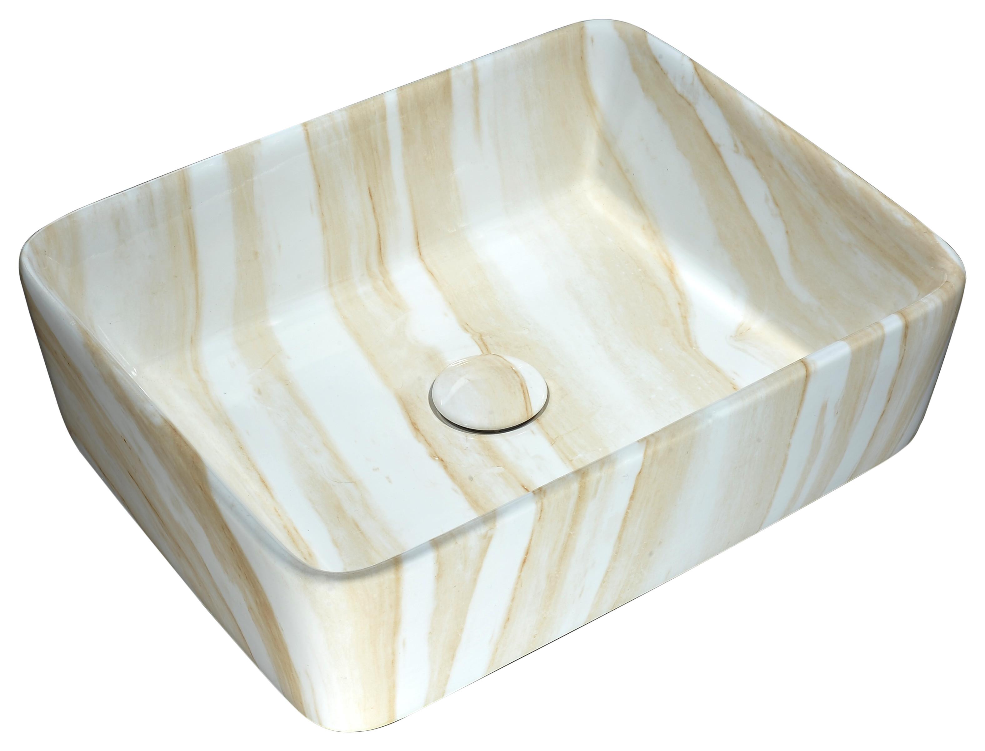 ANZZI LS-AZ243 Marbled Series Ceramic Vessel Sink In Marbled Cream Finish