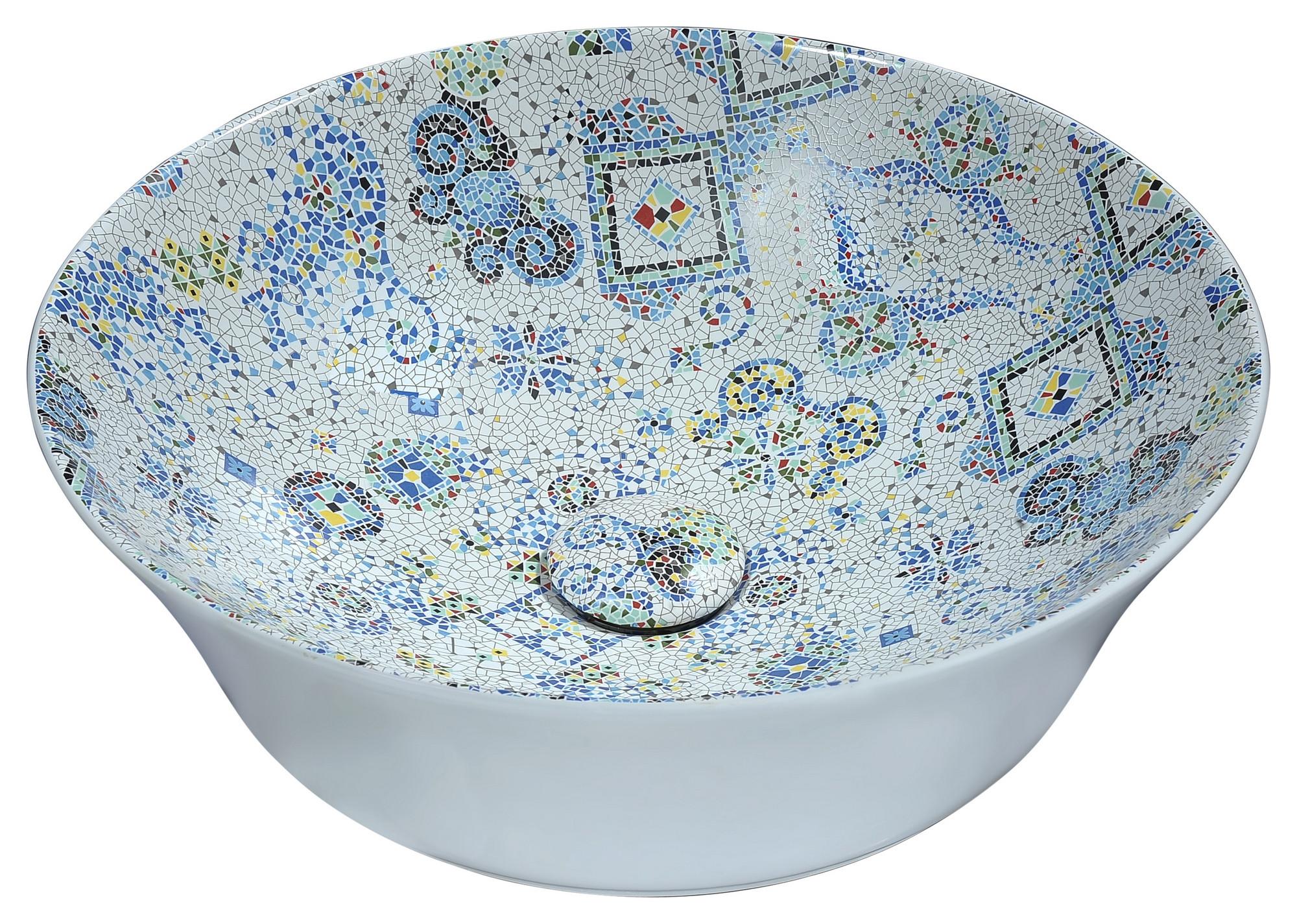 ANZZI LS-AZ260 Byzantian Series Ceramic Vessel Sink In Mosaic White