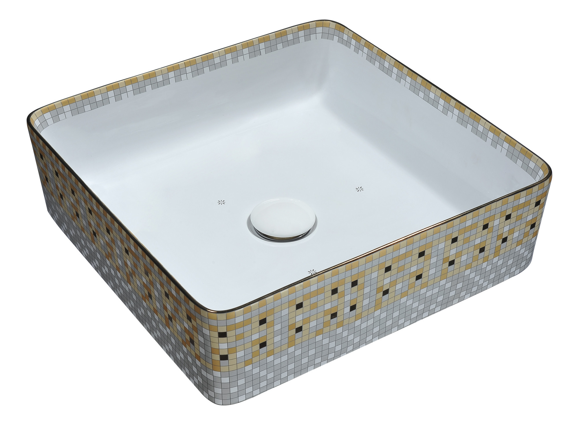 ANZZI LS-AZ265 Byzantian Series Ceramic Vessel Sink In Mosaic Gold