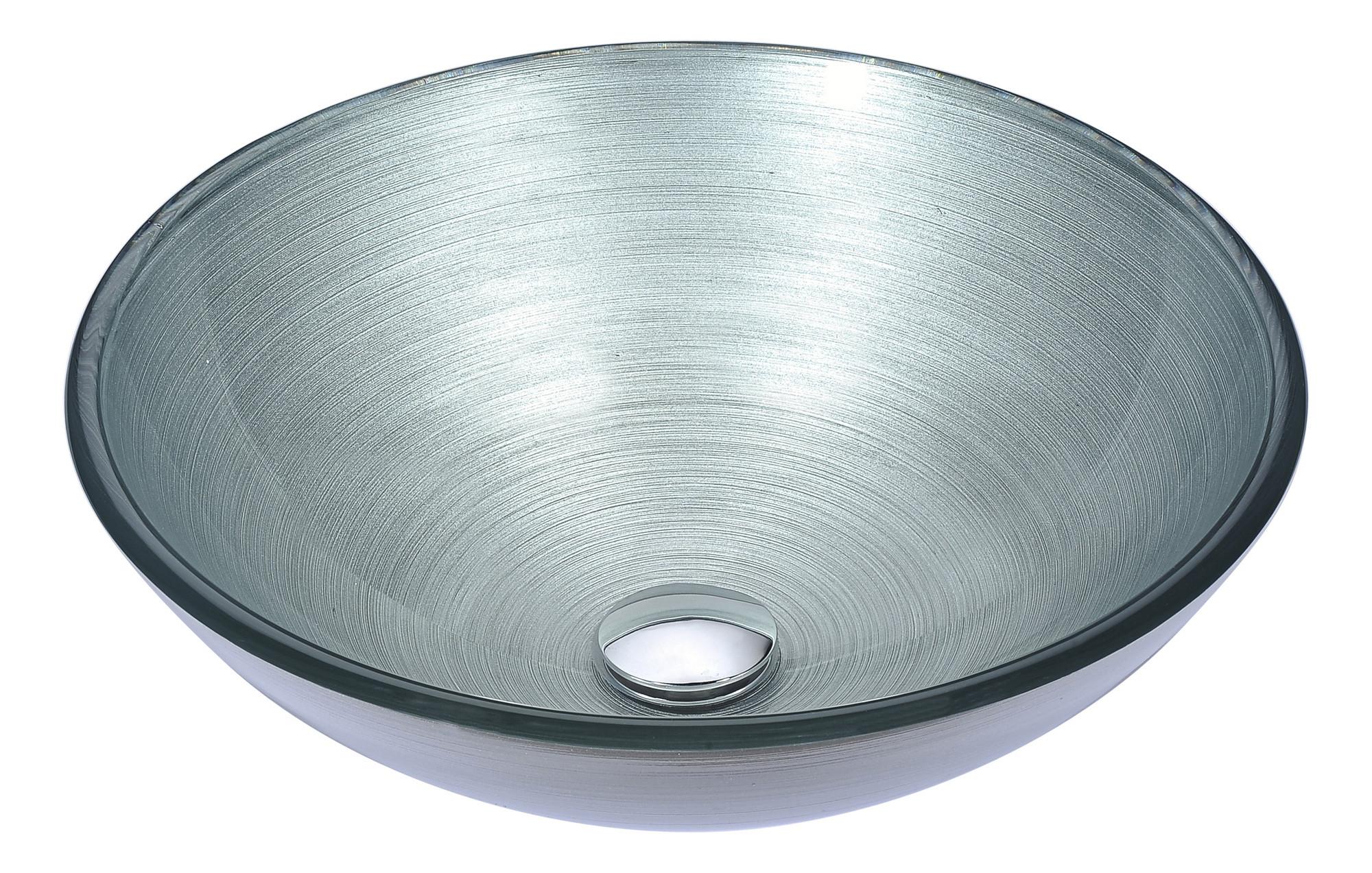 ANZZI LS-AZ283 Posh Seriaes Deco-Glass Vessel Sink In Brushed Silver