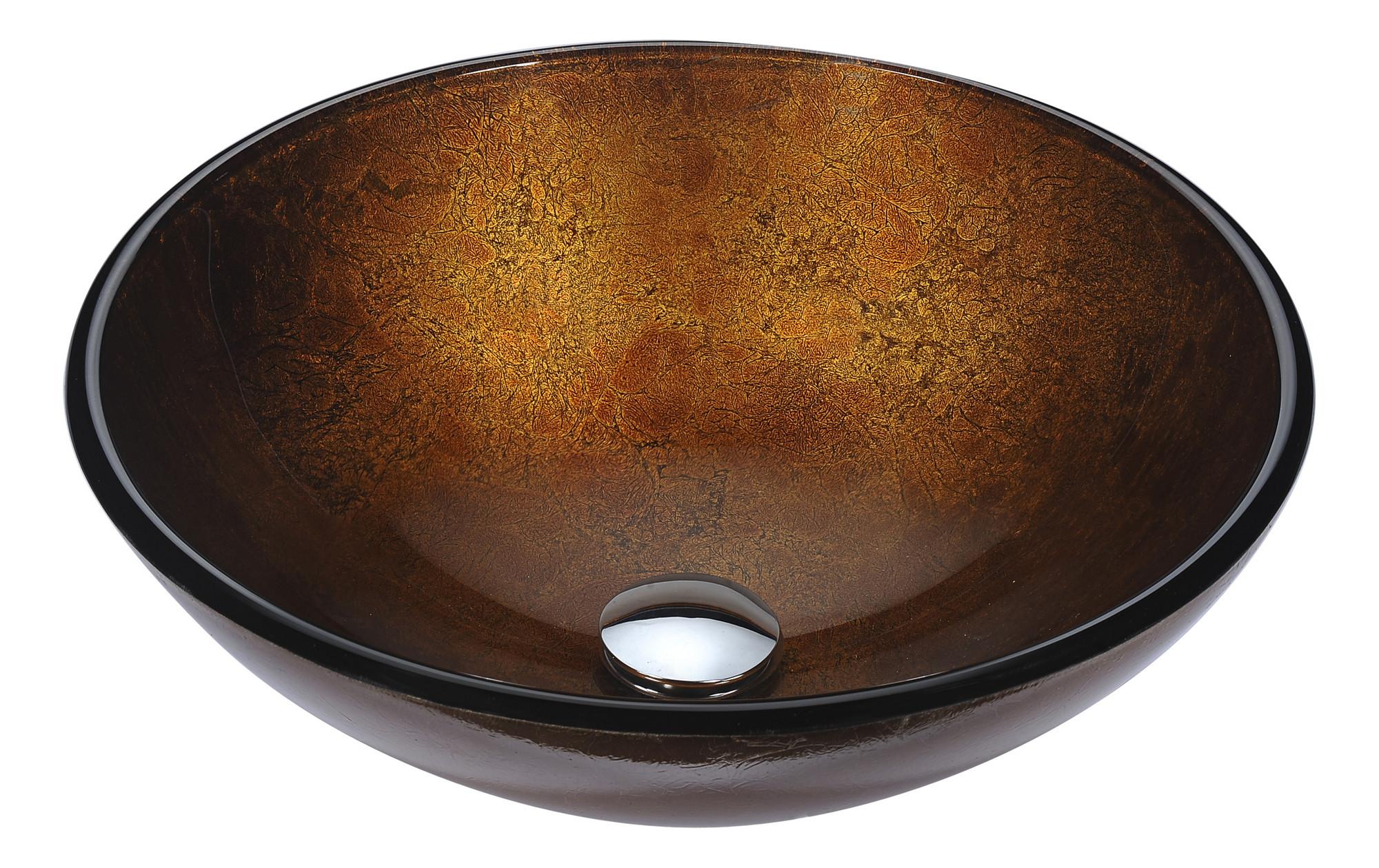 ANZZI LS-AZ292 Posh Series Round Deco-Glass Vessel Sink In Amber Gold